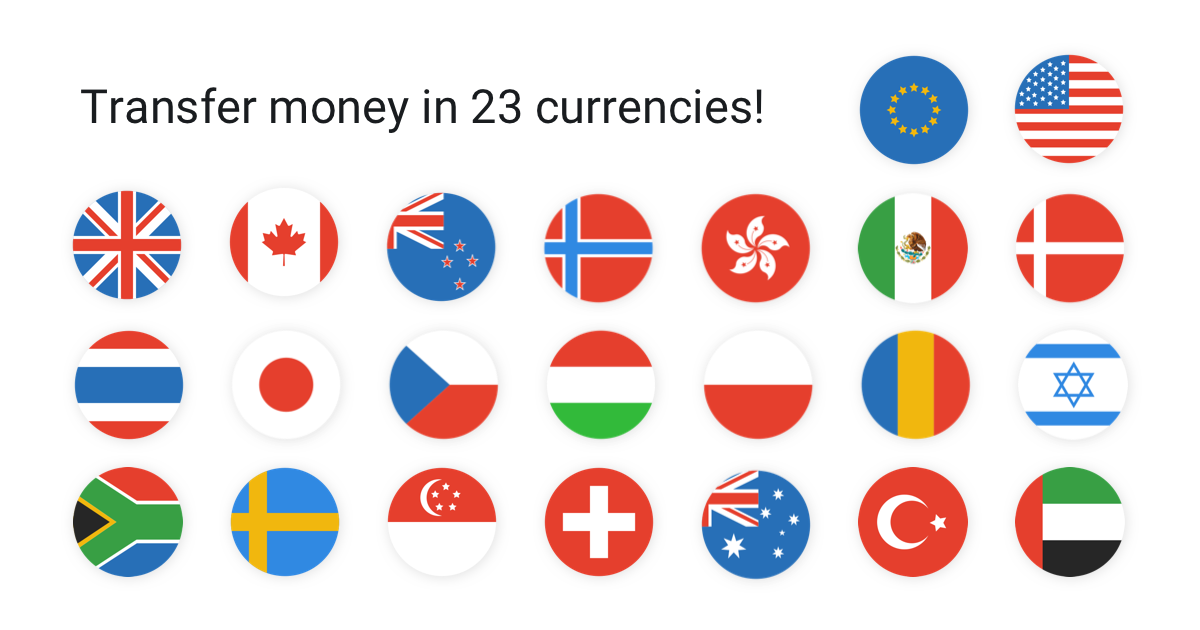 Transfer 23 currencies globally with the real exchange rate