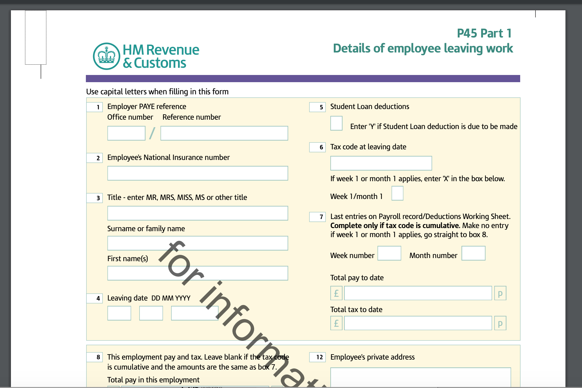 P45 form from HMRC