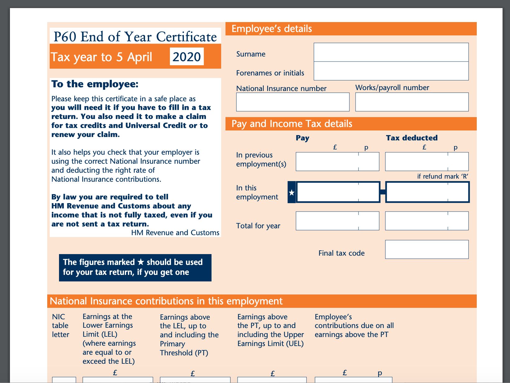 P60 form from HMRC